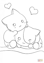 Click The Kawaii Kittens Coloring Pages