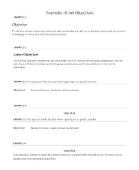 Resume Objective For Call Center Trainer Objectives In A Example Career Job Resumes Examples Of Elemental