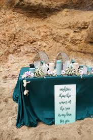 Beautiful Sweetheart Table Decor In Teal And Turquoise Shades With Shells Air Plants