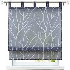 eslir raffrollo mit schlaufen gardinen küche raffgardinen transparent schlaufenrollo modern vorhänge grau bxh 140x140cm 1 stück