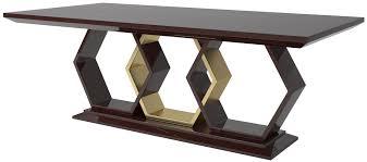 casa padrino designer esstisch dunkelbraun hochglanz gold 220 x 110 x h 77 cm edler rechteckiger massivholz küchentisch luxus qualität