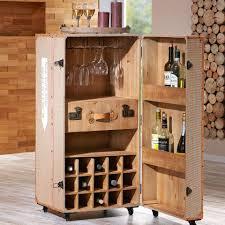 meuble de bar avec roulettes design caisse de vin