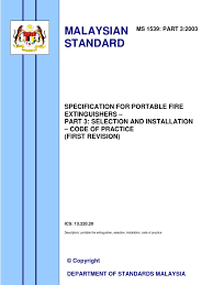 Fire Extinguisher Mounting Height Code by Malaysia Standard Specification On Fire Extinguisher