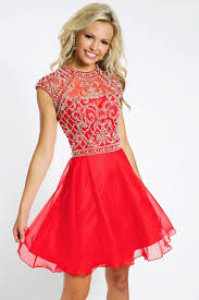 a line high neck short chiffon cap sleeves beaded backless red