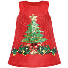 Girls Dress A Line Christmas Tree Xmas Sequin Sparkling Holiday Party Size 3 10
