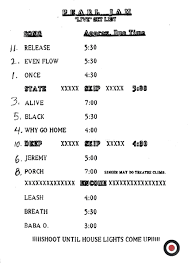 Smashing Pumpkins Setlist 1996 by Five Horizons 1992 Concert Chronology For Pearl Jam