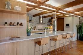 mid century kitchen kitchen midcentury with tile wood bar stools