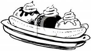 Royalty Free Clipart Image Banana Split Coloring Page