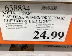 sofia sam memory foam lap desk costco weekender