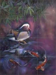 ceramic tile mural kitchen backsplash macon duck bird koi fish