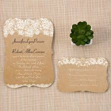 Chic Rustic Lace Bracket Scallop Wedding Invitations EWIb270 As Low 114