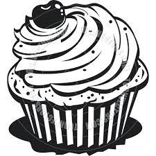 dessert clipart cartoon cupcake vector illustration cupcake clipart black and white