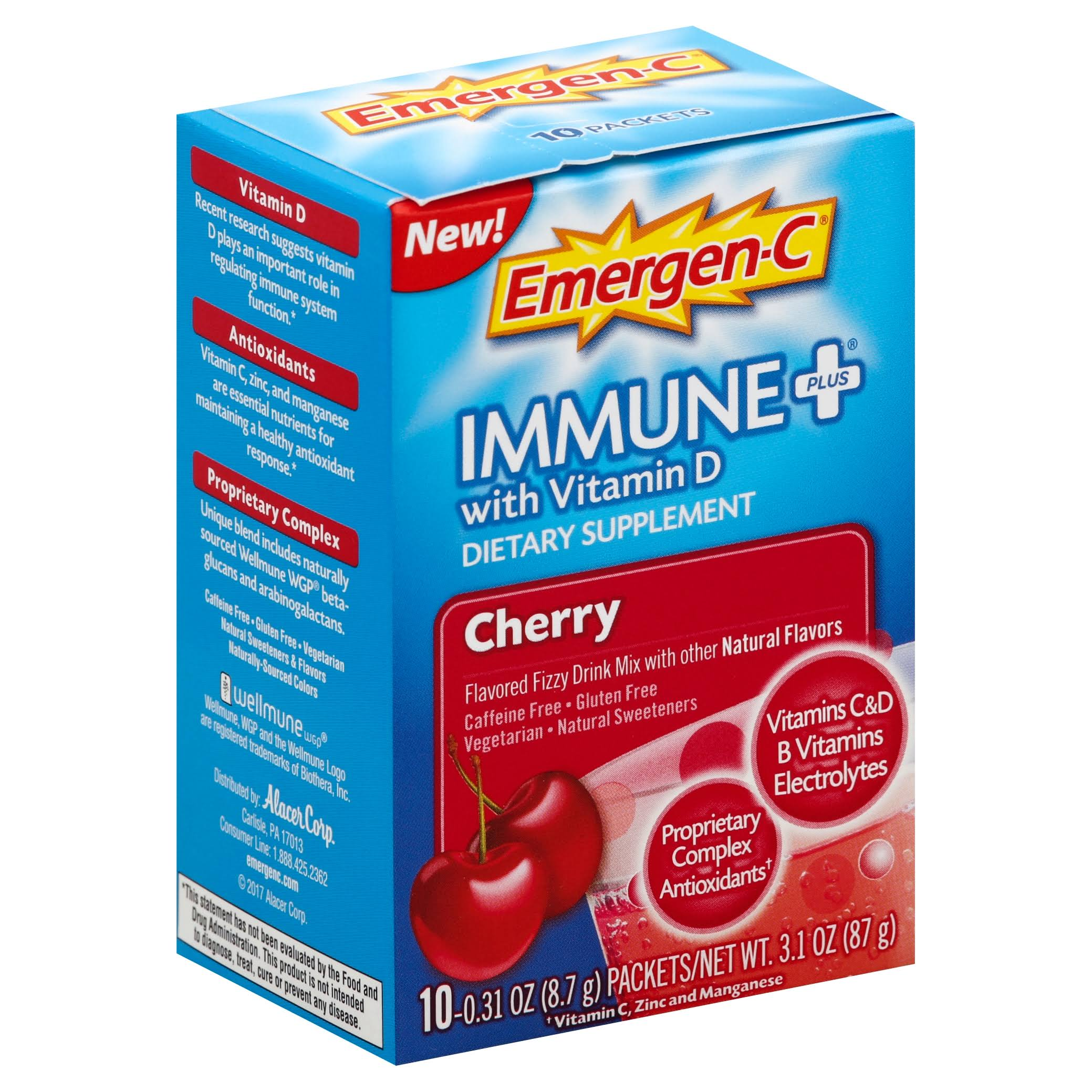 Emergen-C Immune Plus with Vitamin D Supplement - Cherry, 10 Packets, 0.31oz
