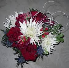 Red Roses And White Spider Mums