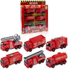 100 Fire Trucks Toys SunbriloStore Diecast Truck Engine Vehicle Toy Set Pull Back Car Mini Truck Rescue Emergency Truck Toy Set Extending Ladder Truck