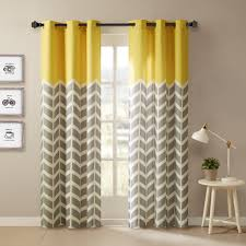 Yellow And White Curtains For Nursery by Amazon Com Intelligent Design Alex Chevron Printed Grommet Top