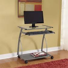 Easy2go Corner Computer Desk Assembly by Altra Easy2go Glass Top Metal Computer Cart In Silver Walmart Com
