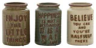 Rustic Kitchen Canister Set Enjoy Happiness Believe 3 Piece Ceramic Jar 8