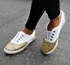 DIY Glitter Sneakers On Howtwostyle