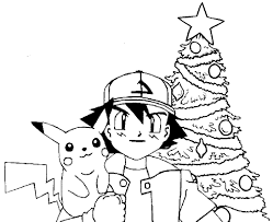 Christmas Tree Coloring Pages Printable by Pikachu Pokemon Coloring Pages Getcoloringpages Com