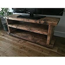 Solid Rustic Handmade Pine TV Unit Finished In A Chunky Country Oak MK2 Dark 120cm Long