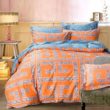 Arabesque Orange Geometric Bedding Sets Queen King Size Cotton