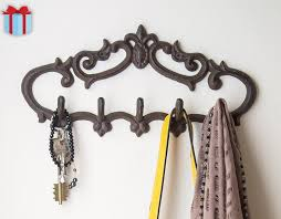 Cast Iron Wall Hanger Vintage Design With 5 Hooks Keys Mounted Decorative Gift Idea Screws And Anchors By Comfify