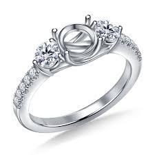 Three Stone Trellis Diamond Engagement Ring In 14K White Gold