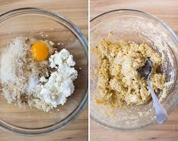 Two Side By Images Of A Bowl Ingredients For The Cauliflower Pizza Crust