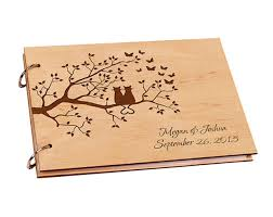 Personalized Wooden DIY Wedding Guest Book For Signature Custom Wood Rustic A4 Paper Photo Album