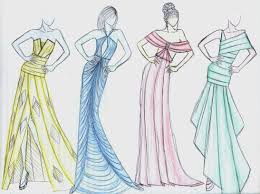 Fashion Pencil Sketching Dress Design Drawn And In Color