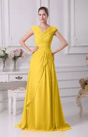 yellow elegant a line short sleeve lace up floor length ruching