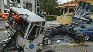 100 Truck Crashes Video Garbage Truck Crashes Off Elevated Highway Lands In Jose