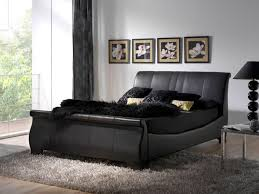 Black Leather Sleigh Beds — e Thousand Designs Leather Tufted