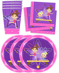 Pink And Gold Birthday Decorations Canada by Amazon Com Gymnastics Star Birthday Party Supplies Set Plates