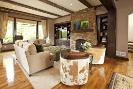 Living Room Ideas Modern Rustic Brown Wooden Natural Varnished With Soft Sofas And Green Table Ottoman Big Windows Awesome