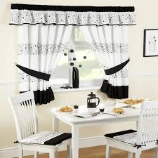 Interesting Black And White Curtains Beside Breakfast Nook With Table Chairs On Oak Flooring