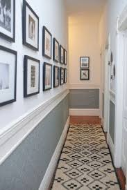 Marvellous Small Hallways Decorating With Grey Chair Rail And Long Rug Wall