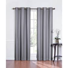 trendy light grey grommet curtain design idea for living room