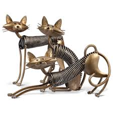 Tooarts Metal Sculpture Iron Art Cat Spring Made Handicraft Crafting Decor