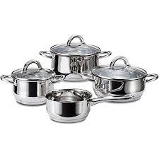 linnuo topfset induktion 4 töpfe 3 glasdeckel kochtopf set aus hochwertigem edelstahl topf mit hohlem griff nicht heiß beim kochen ideales