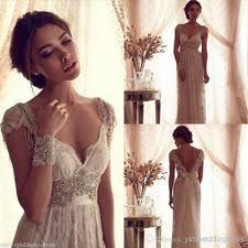 Vintage Beaded White Ivory Lace Beach Bridal Gown Wedding Dress Custom Size 2 26