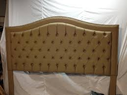Diamond Tufted Headboard With Crystal Buttons by Camelback Tufted Headboard With Nailheads Upholstered