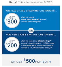 Last Chance For Chase $300 Checking & $200 Savings Bonuses ... Roundup Of Bank Bonuses 750 At Huntington 200 From Chase Total Checking Coupon Code 100 And Account Review Expired Targeting Some Ink Cardholders With 300 Brighton Park Community Bonus 300 Promotion Palisades Credit Union Referral 50 New Is It A Trap Offering Just To Open Checking Promo Codes 350 500 625 Business Get With 600 And Savings Accounts Handcurated List The Best Sign Up In 2019 Promotions Virginia