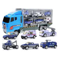 100 Big Truck Toys Mini Diecast Car Model Toy Vehicles Carrier Set For Kids