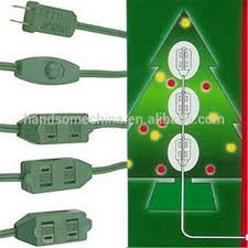 9 Outlet Green Christmas Tree Extension Cord Lighted Connectors
