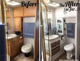RV Bathroom Redo Removing The Cabinet Doors And Using Storage Bins Is A Great Idea