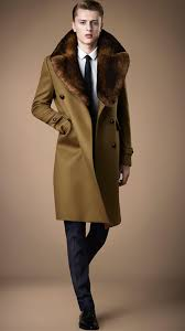 burberry rabbit fur and wool military coat in brown for men lyst