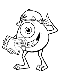 Mike From Monster Inc Coloring Pages For Kids Printable Free