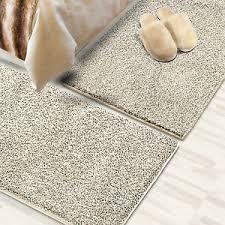 details zu läufer shaggy bettumrandung teppich für schlafzimmer im läuferset 3 teilig creme